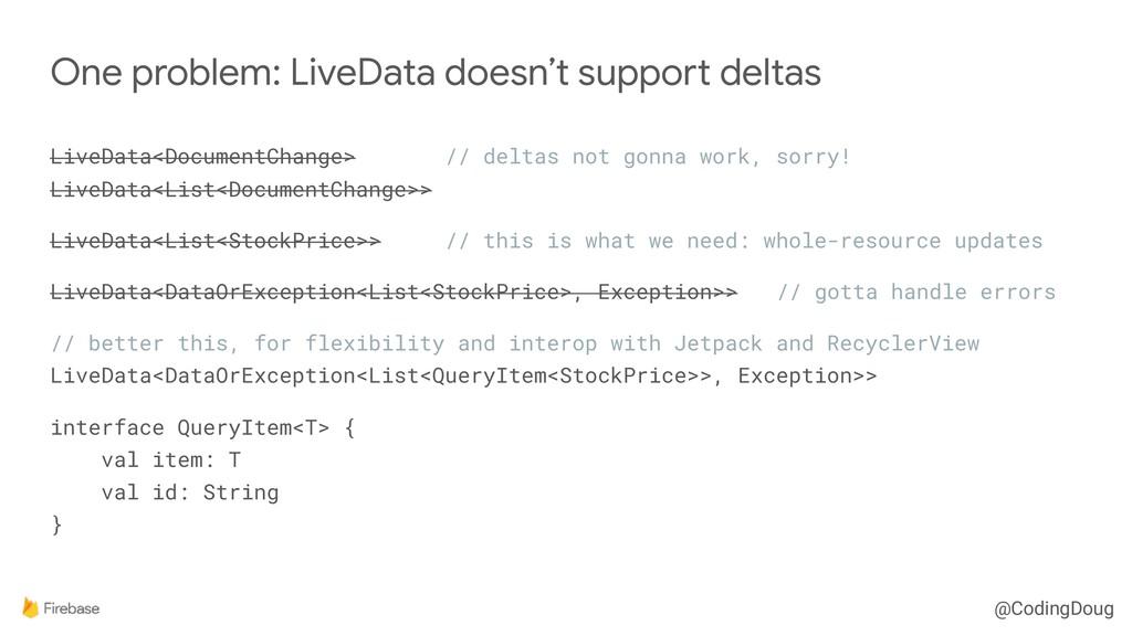 @CodingDoug LiveData<DocumentChange> // deltas ...