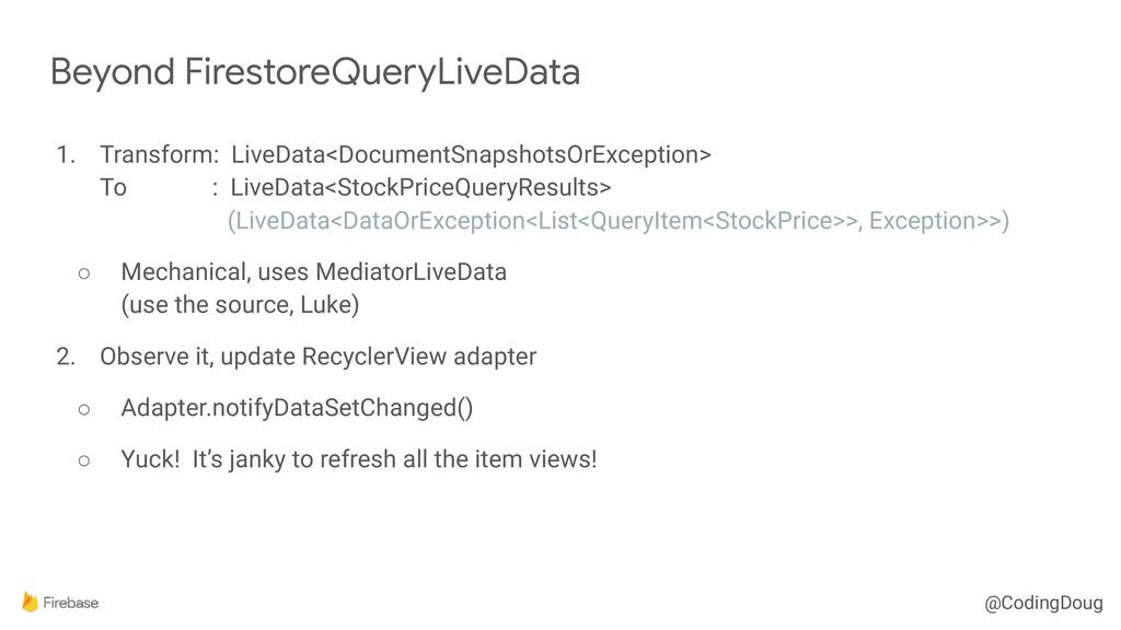 @CodingDoug 1. Transform: LiveData<DocumentSnap...