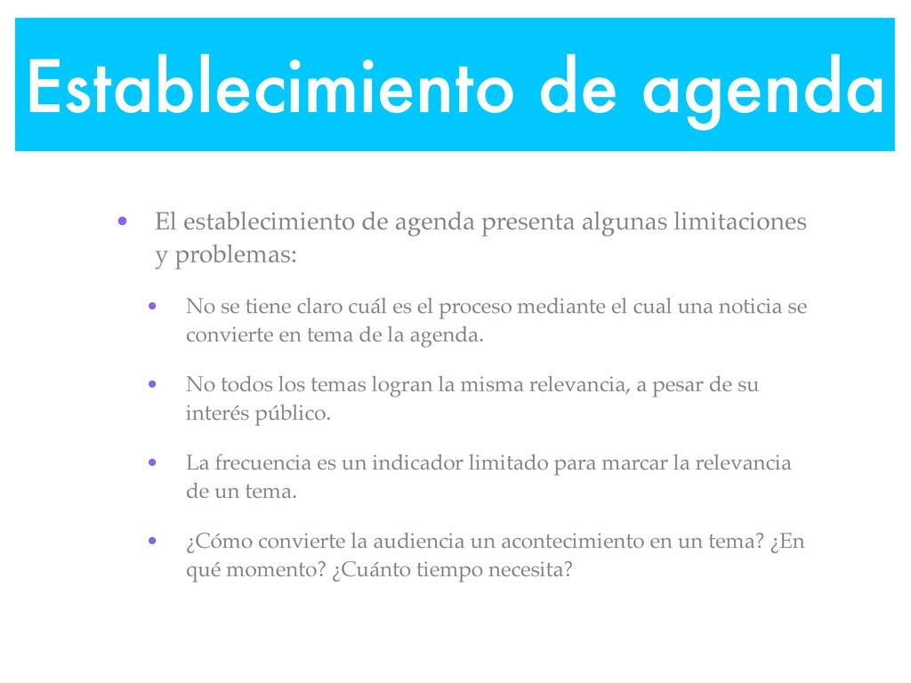Establecimiento de agenda • El establecimiento ...