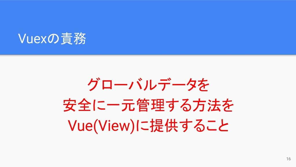 Vuexの責務 グローバルデータを 安全に一元管理する方法を Vue(View)に提供すること...