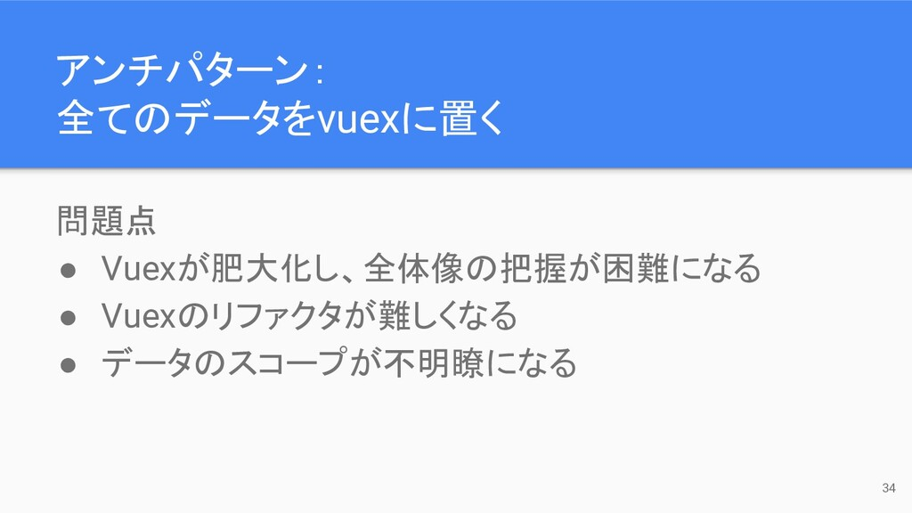 問題点 ● Vuexが肥大化し、全体像の把握が困難になる ● Vuexのリファクタが難しくなる...