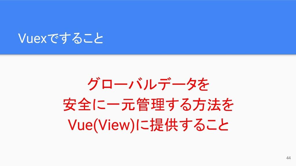 Vuexですること グローバルデータを 安全に一元管理する方法を Vue(View)に提供する...