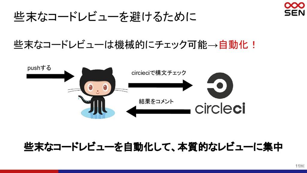 11 些末なコードレビューを避けるために 些末なコードレビューは機械的にチェック可能→自動化...