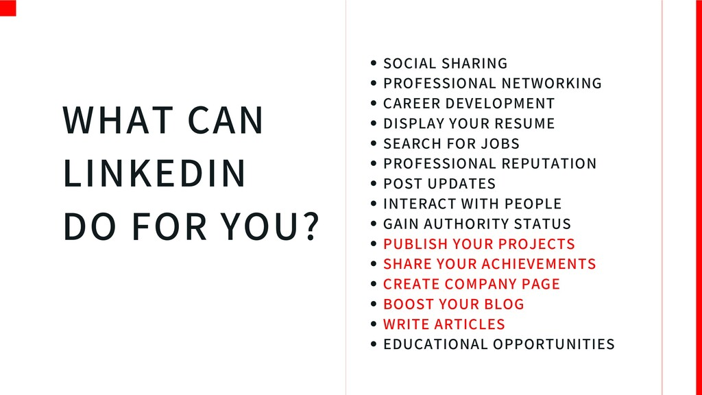 WHAT CAN LINKEDIN DO FOR YOU? C S SOCIAL SHARIN...
