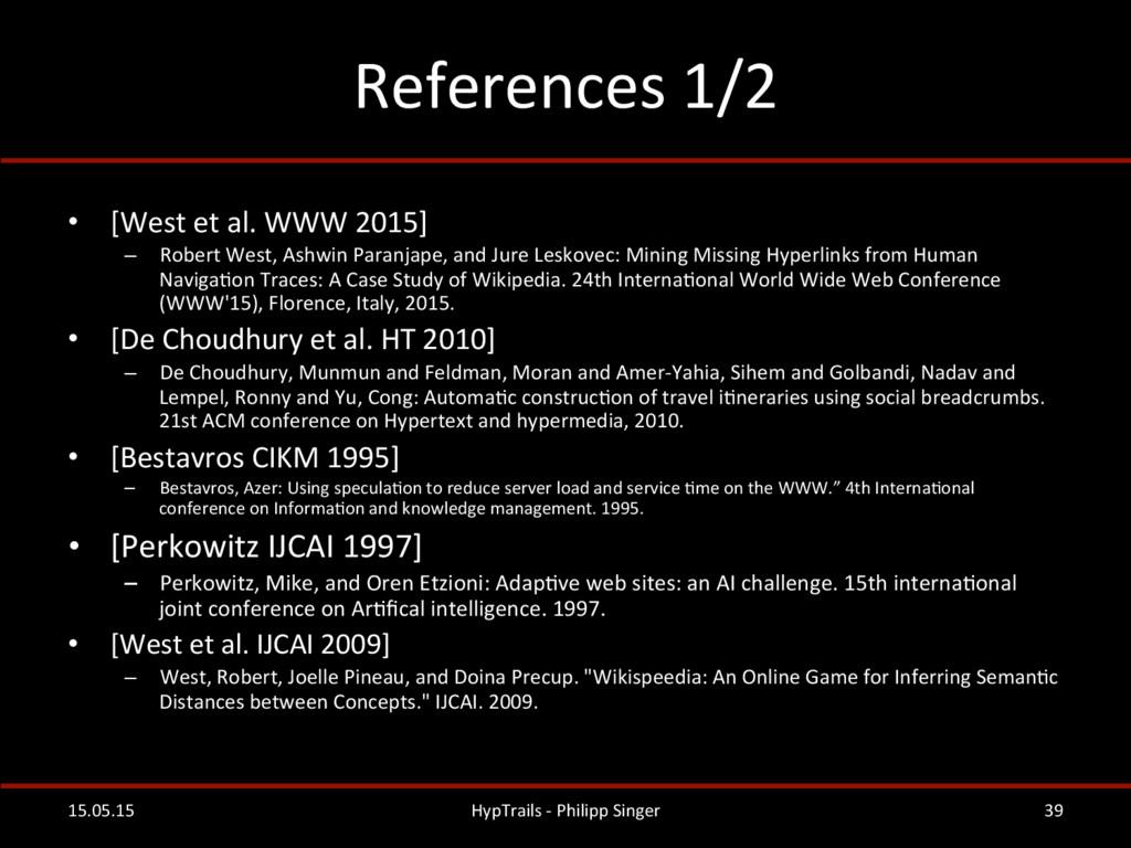 References 1/2  • [West et al. ...