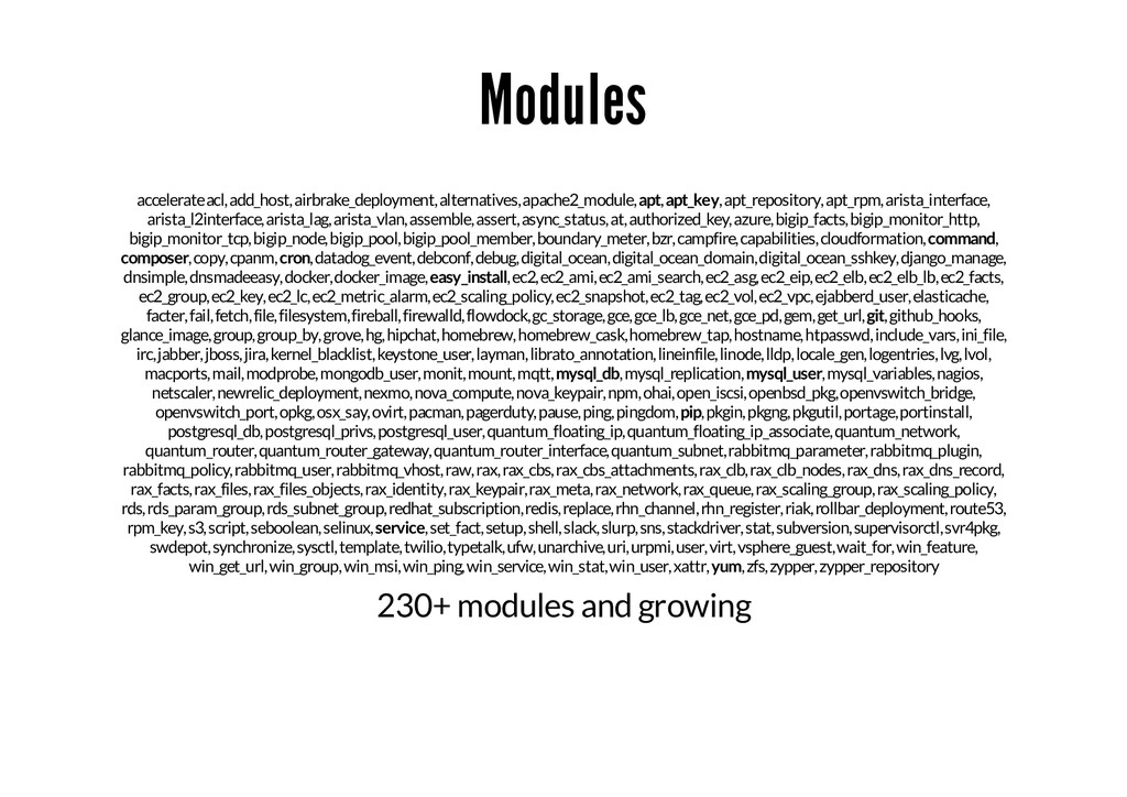 Modules accelerate acl, add_host, airbrake_depl...