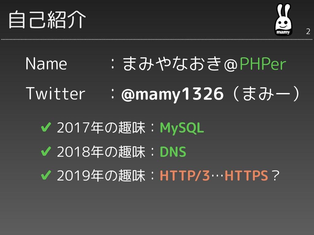 Name Twitter  ✔ 2017年の趣味:MySQL  ✔ 2018年の趣味:DNS ...