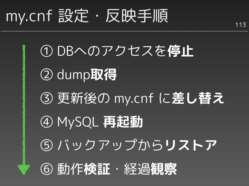 my.cnf 設定・反映手順 ① DBへのアクセスを停止 ② dump取得 ③ 更新後の my...