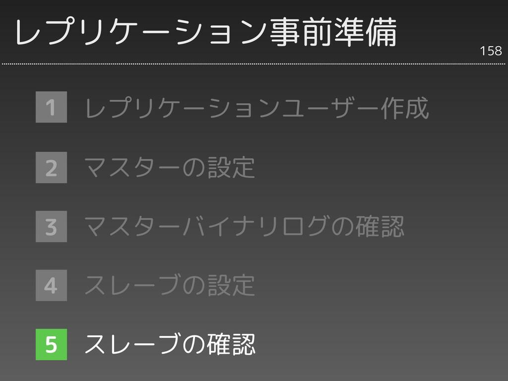 レプリケーション事前準備 1 2 3 158 レプリケーションユーザー作成 マスターの設定 マ...