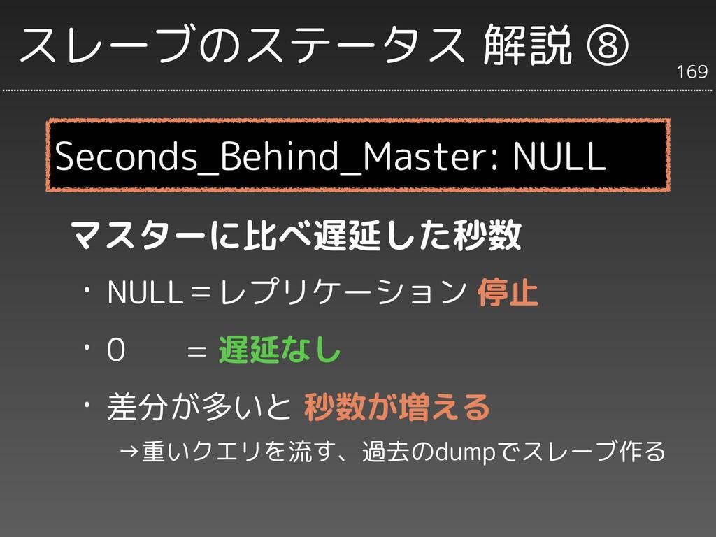 スレーブのステータス 解説 ⑧ マスターに比べ遅延した秒数 ・NULL=レプリケーション 停止...