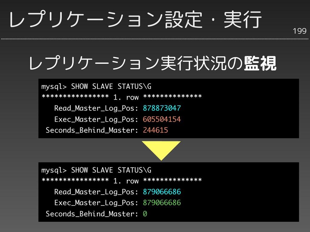 レプリケーション実行状況の監視 199 レプリケーション設定・実行 mysql> SHOW S...