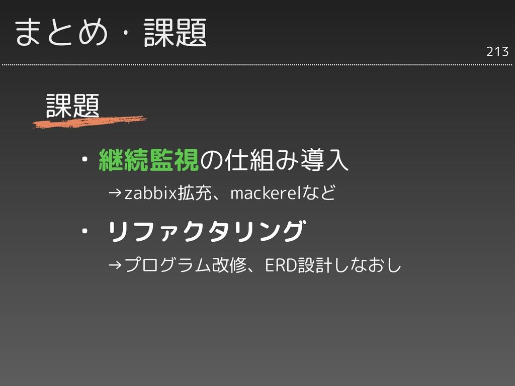 まとめ・課題 課題 ・継続監視の仕組み導入   →zabbix拡充、mackerelなど ・ ...