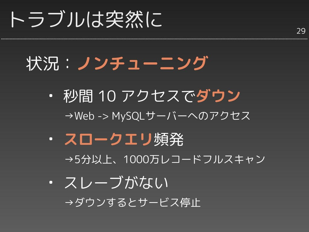 トラブルは突然に 29 ・ 秒間 10 アクセスでダウン   →Web -> MySQLサーバ...