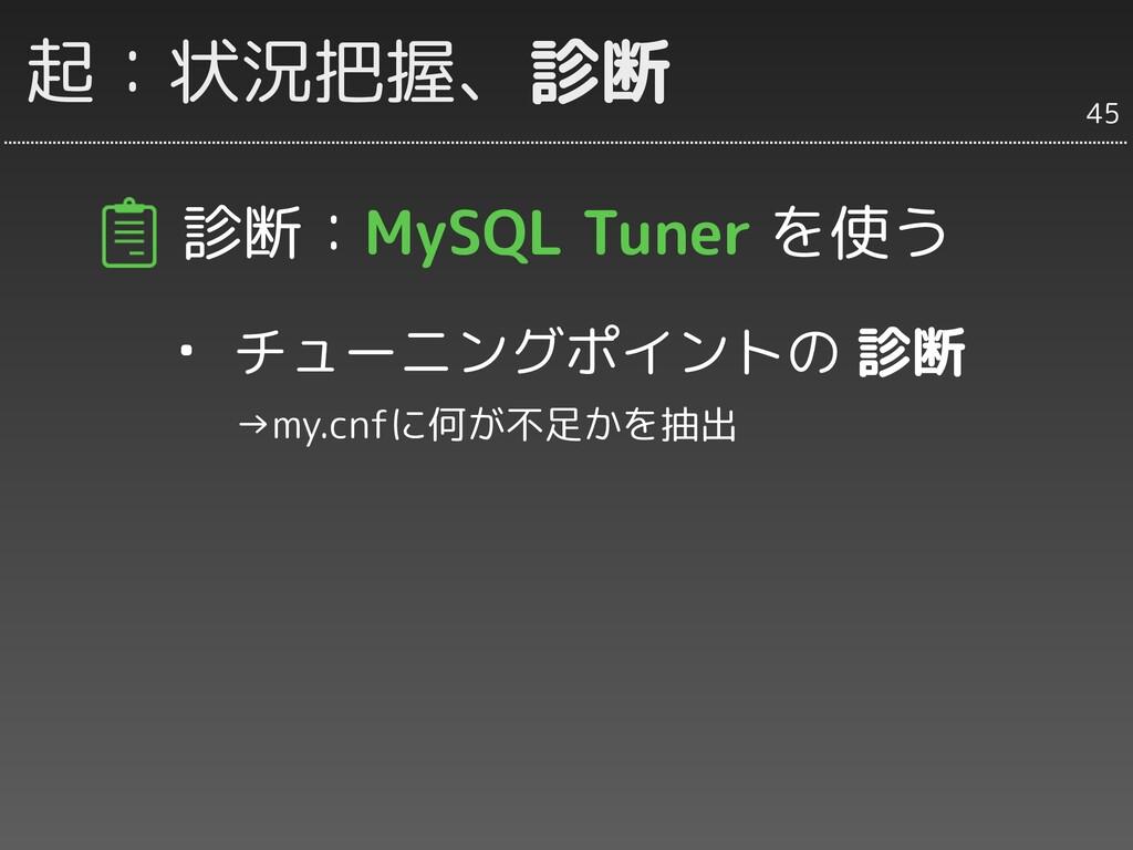 起:状況把握、診断 診断:MySQL Tuner を使う ・ チューニングポイントの 診断  ...