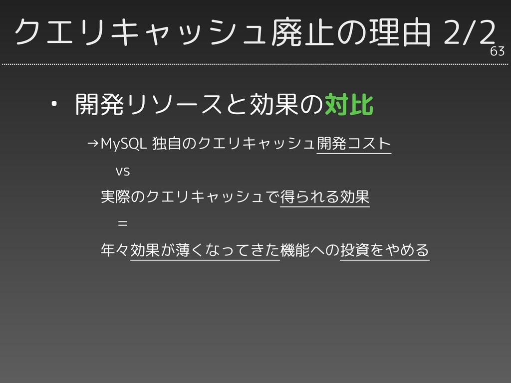 クエリキャッシュ廃止の理由 2/2 63 ・ 開発リソースと効果の対比    →MySQL 独...