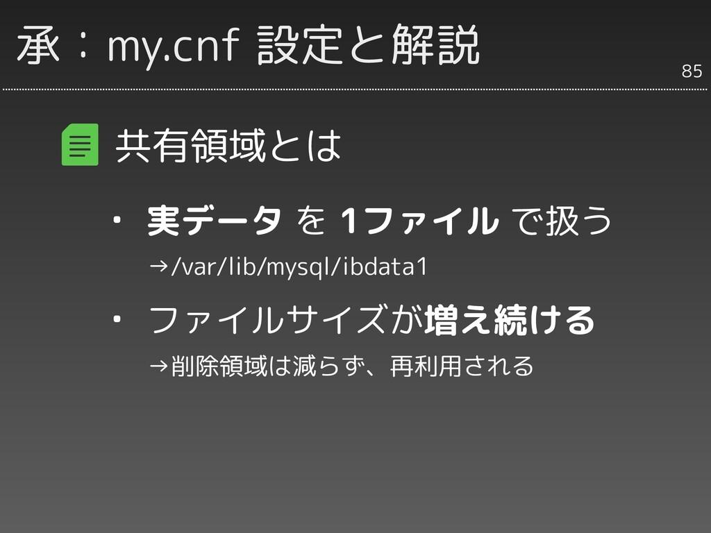 承:my.cnf 設定と解説 共有領域とは ・ 実データ を 1ファイル で扱う   →/va...