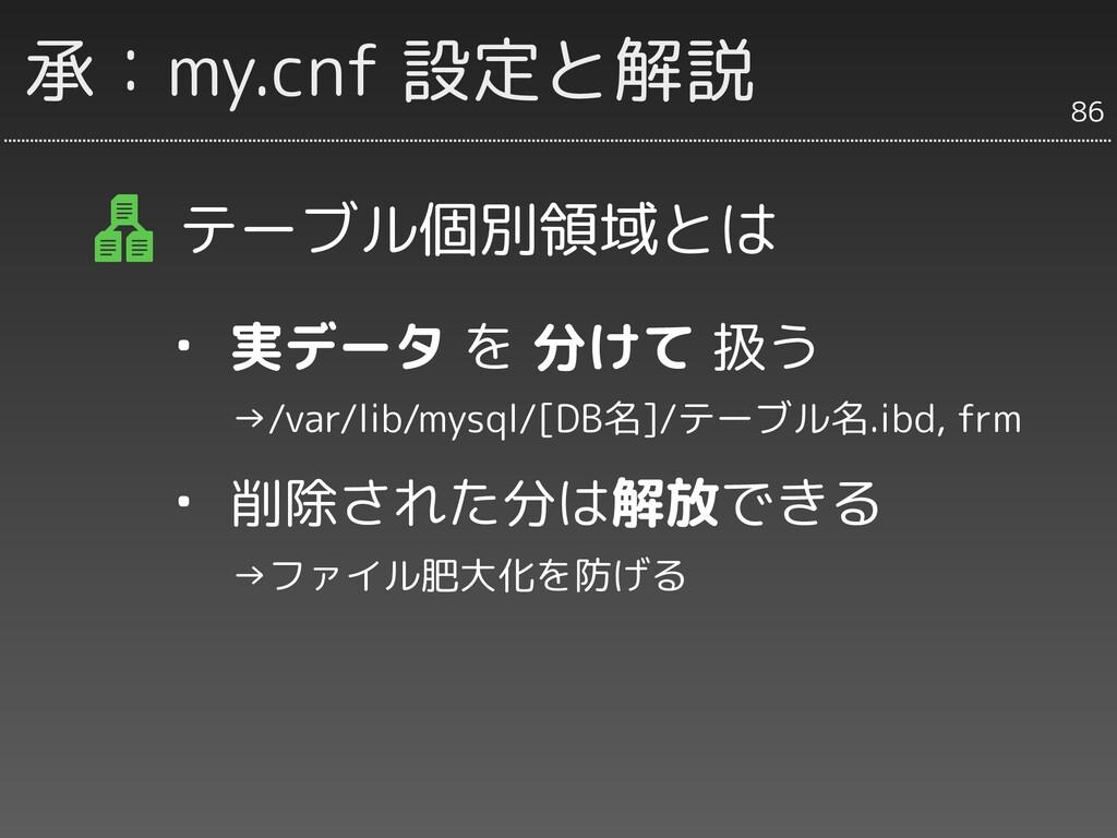 承:my.cnf 設定と解説 テーブル個別領域とは ・ 実データ を 分けて 扱う   →/v...