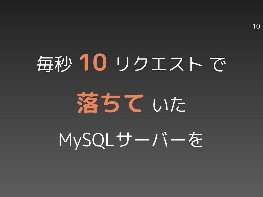 10 毎秒 10 リクエスト で 落ちて いた MySQLサーバーを