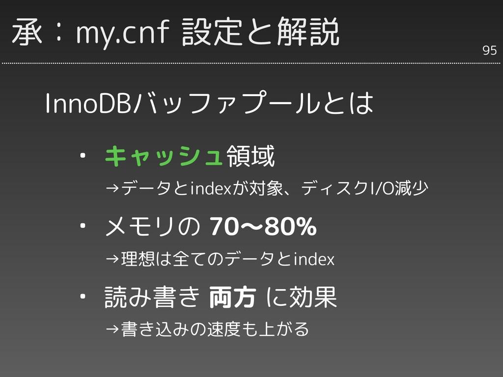 承:my.cnf 設定と解説 InnoDBバッファプールとは ・ キャッシュ領域   →データ...