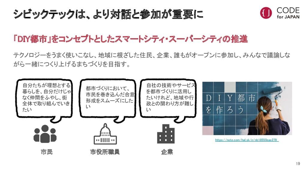 シビックテックは、より対話と参加が重要に 19 「DIY都市」をコンセプトとしたスマートシ...
