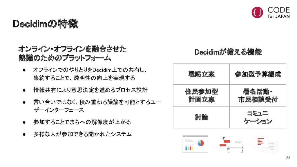 Decidimの特徴 オンライン・オフラインを融合させた 熟議のためのプラットフォーム ...