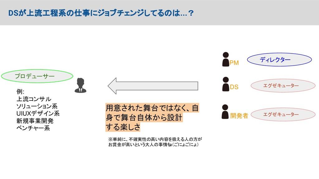 DSが上流工程系の仕事にジョブチェンジしてるのは...? プロデューサー PM DS 開発者 ...