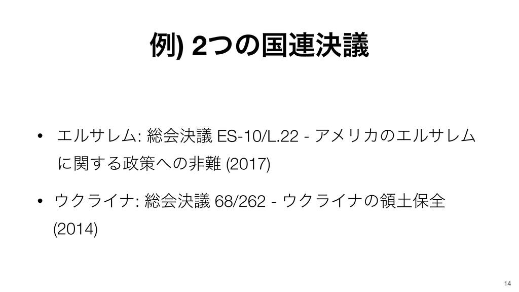 14 • ΤϧαϨϜ: ૯ձܾٞ ES-10/L.22 - ΞϝϦΧͷΤϧαϨϜ ʹؔ͢Δࡦ...