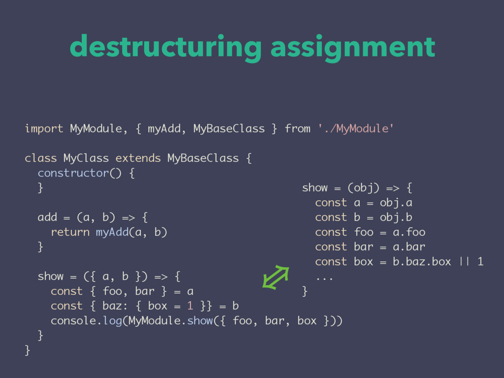 destructuring assignment import MyModule, { myA...