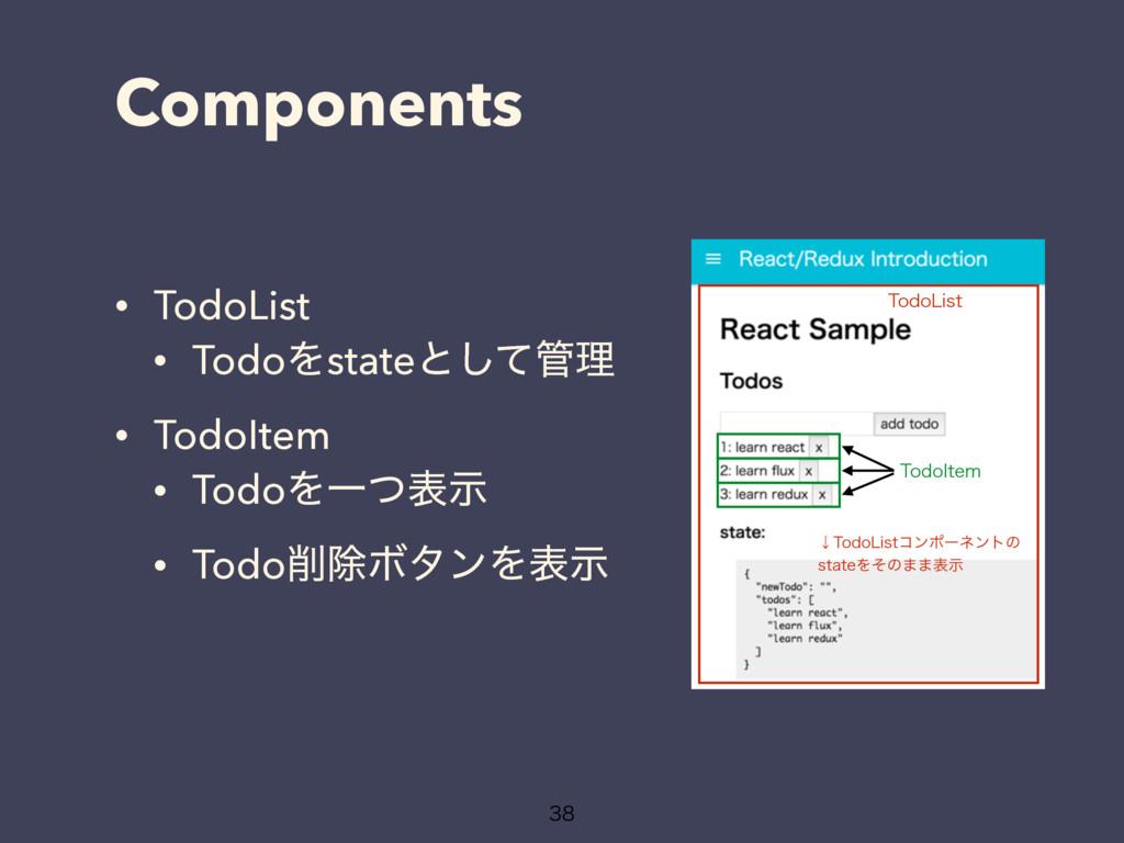 Components • TodoList • TodoΛstateͱͯ͠ཧ • TodoI...