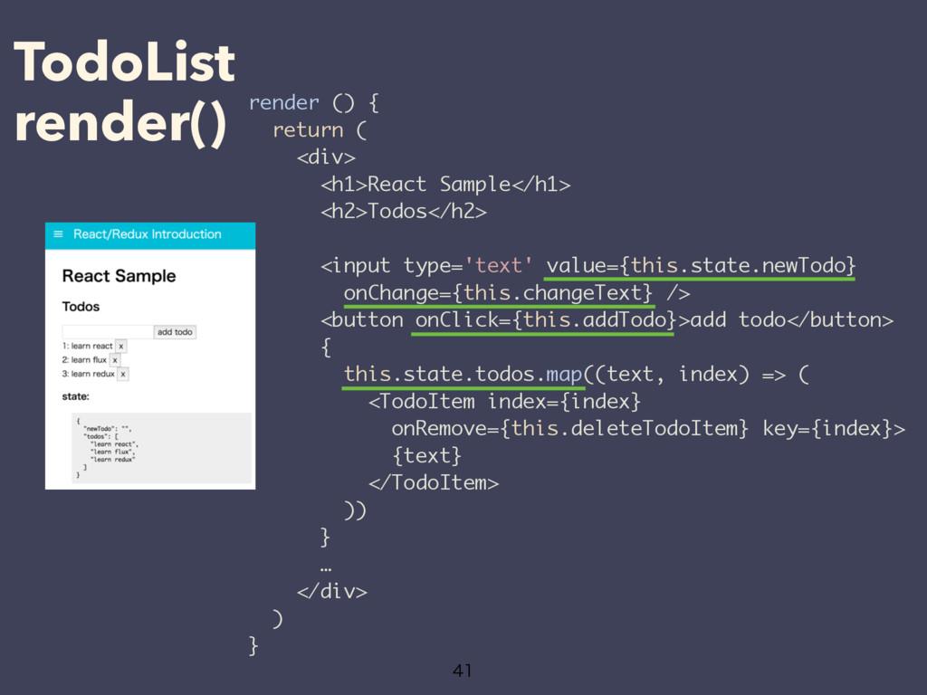 TodoList render()  render () { return ( <div>...