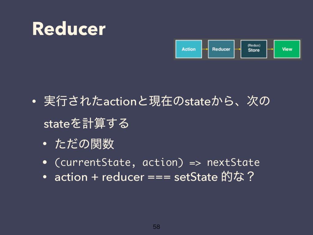 Reducer • ࣮ߦ͞Εͨactionͱݱࡏͷstate͔Βɺͷ stateΛܭ͢Δ ...