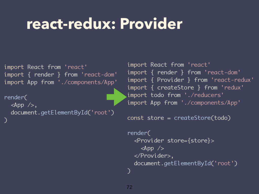 react-redux: Provider  import React from 'rea...