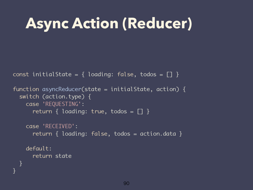 Async Action (Reducer)  const initialState = ...