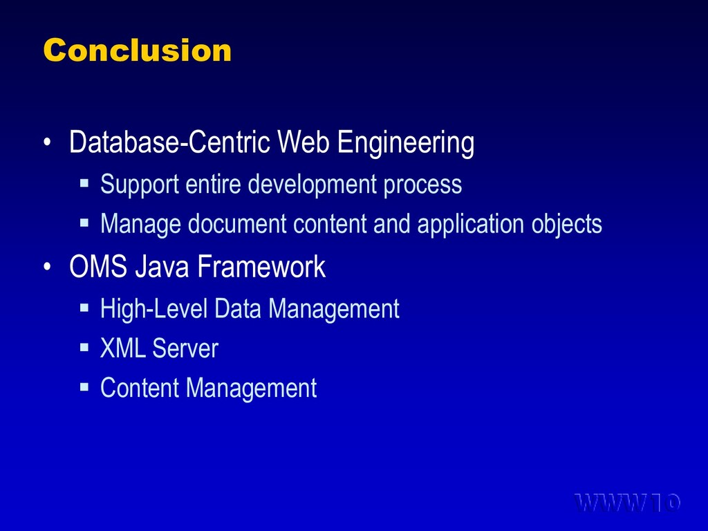 Conclusion • Database-Centric Web Engineering ...