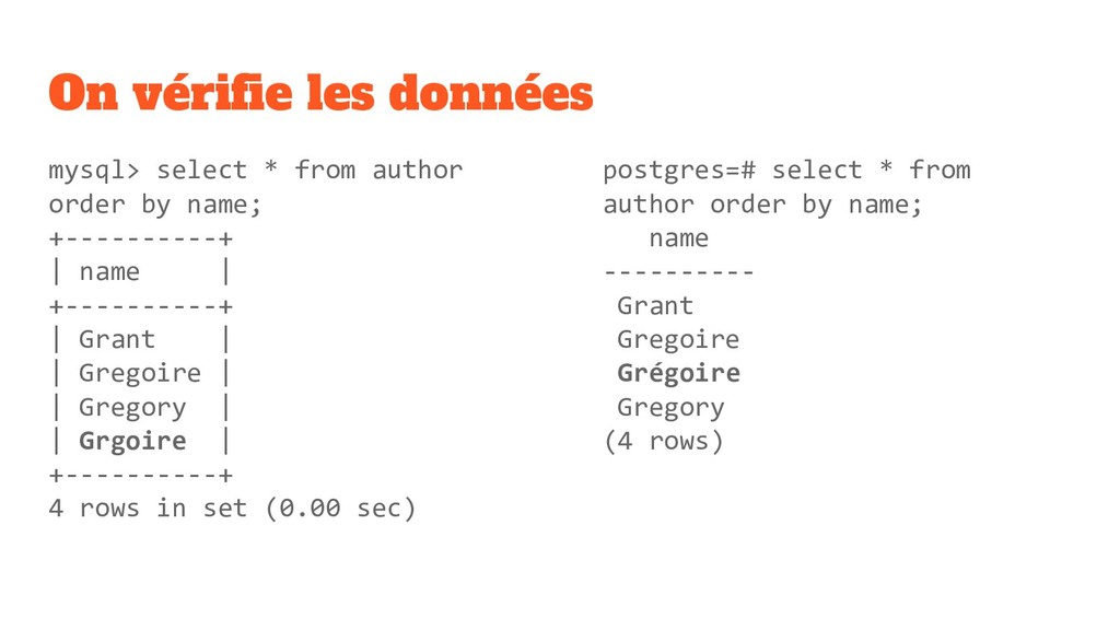 On vérifie les données mysql> select * from auth...