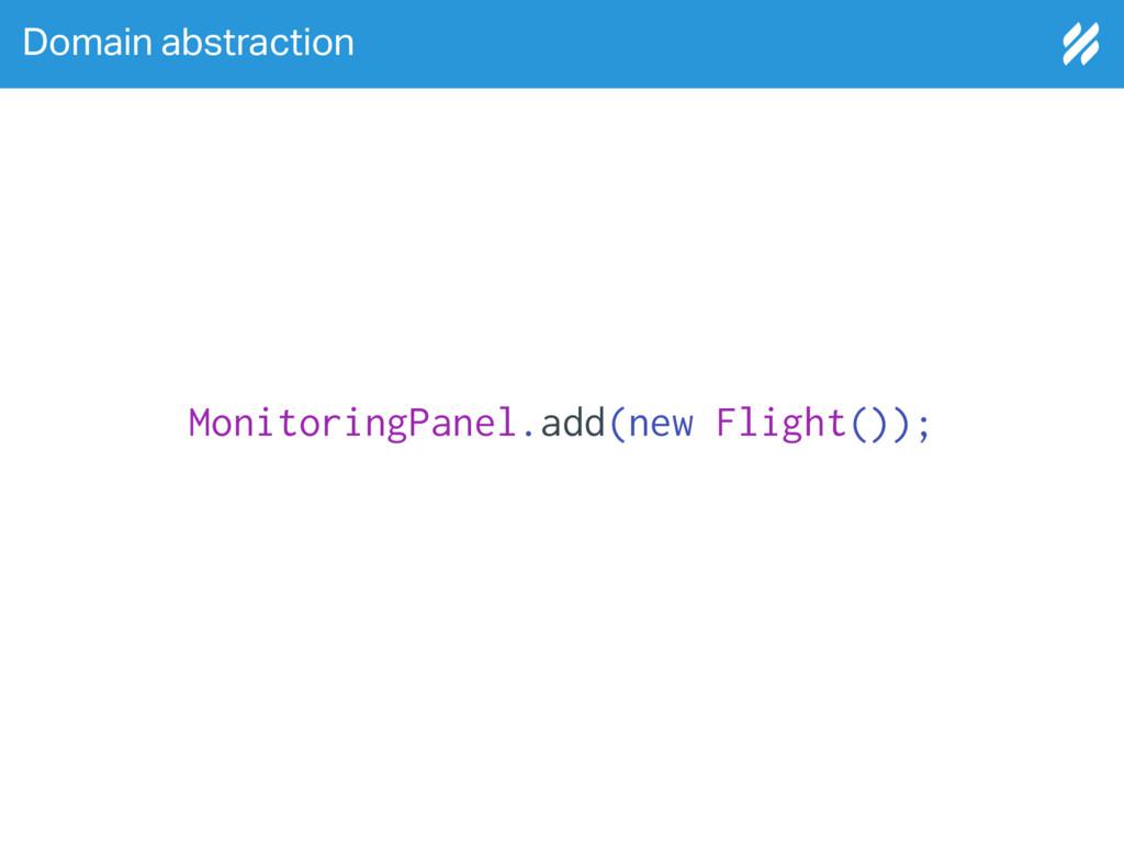 Domain abstraction MonitoringPanel.add(new Flig...
