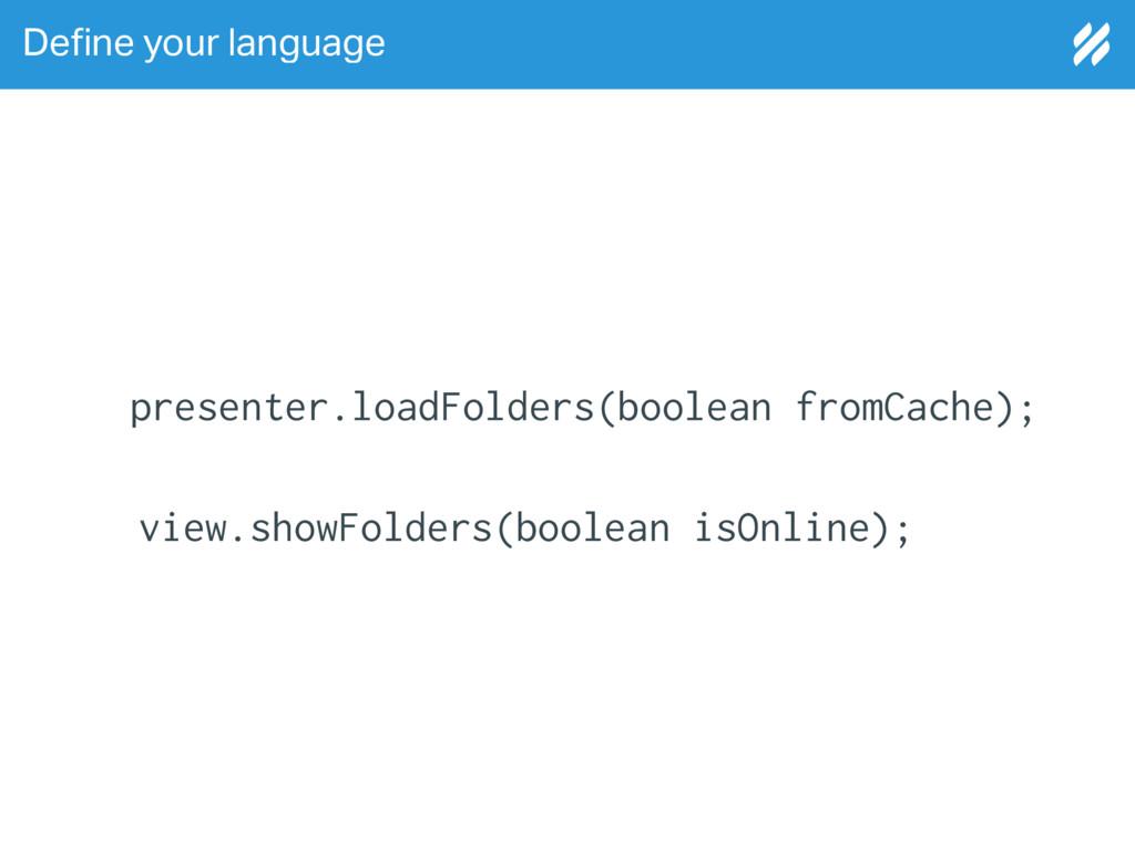 De!ne your language view.showFolders(boolean is...