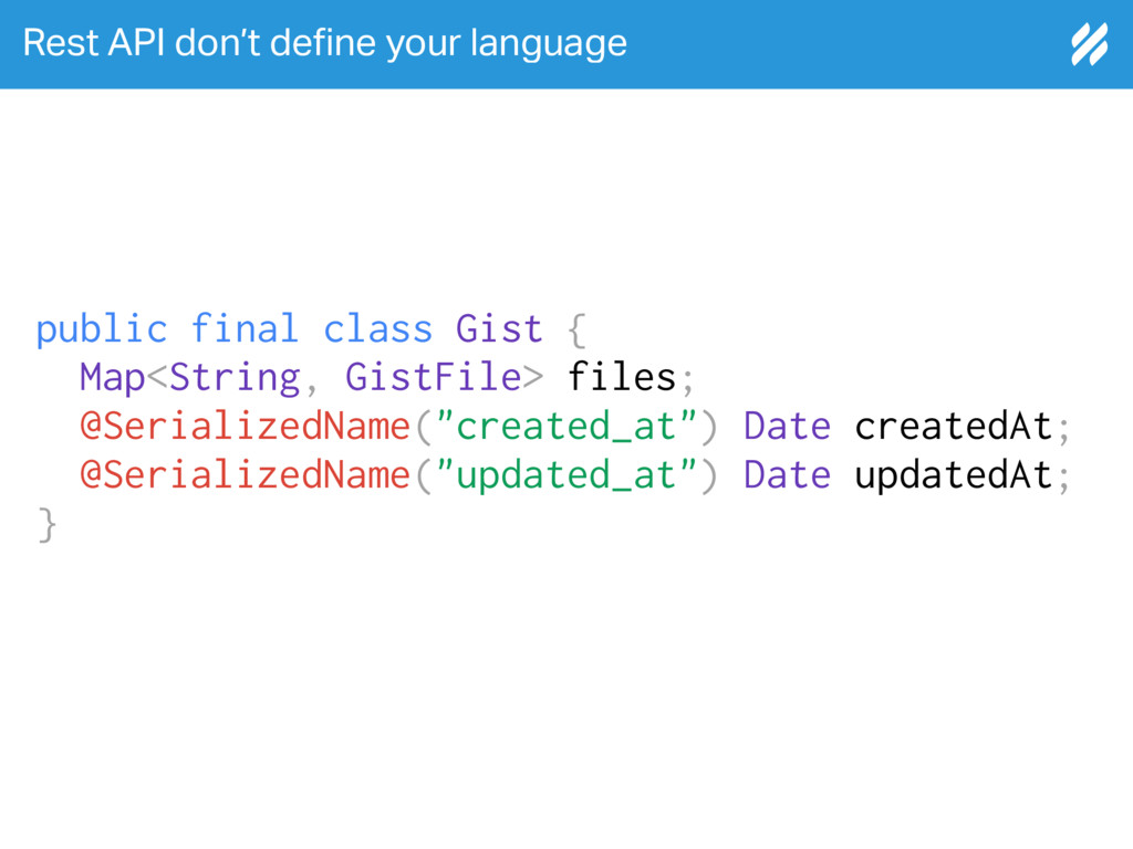 Rest API don't de!ne your language public final...