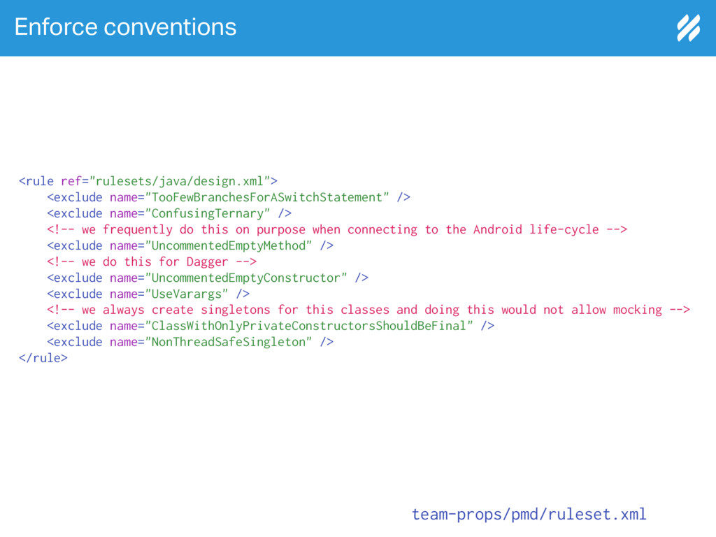 "Enforce conventions <rule ref=""rulesets/java/de..."