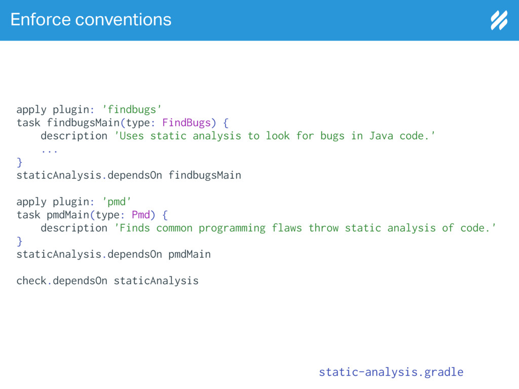 Enforce conventions static-analysis.gradle appl...