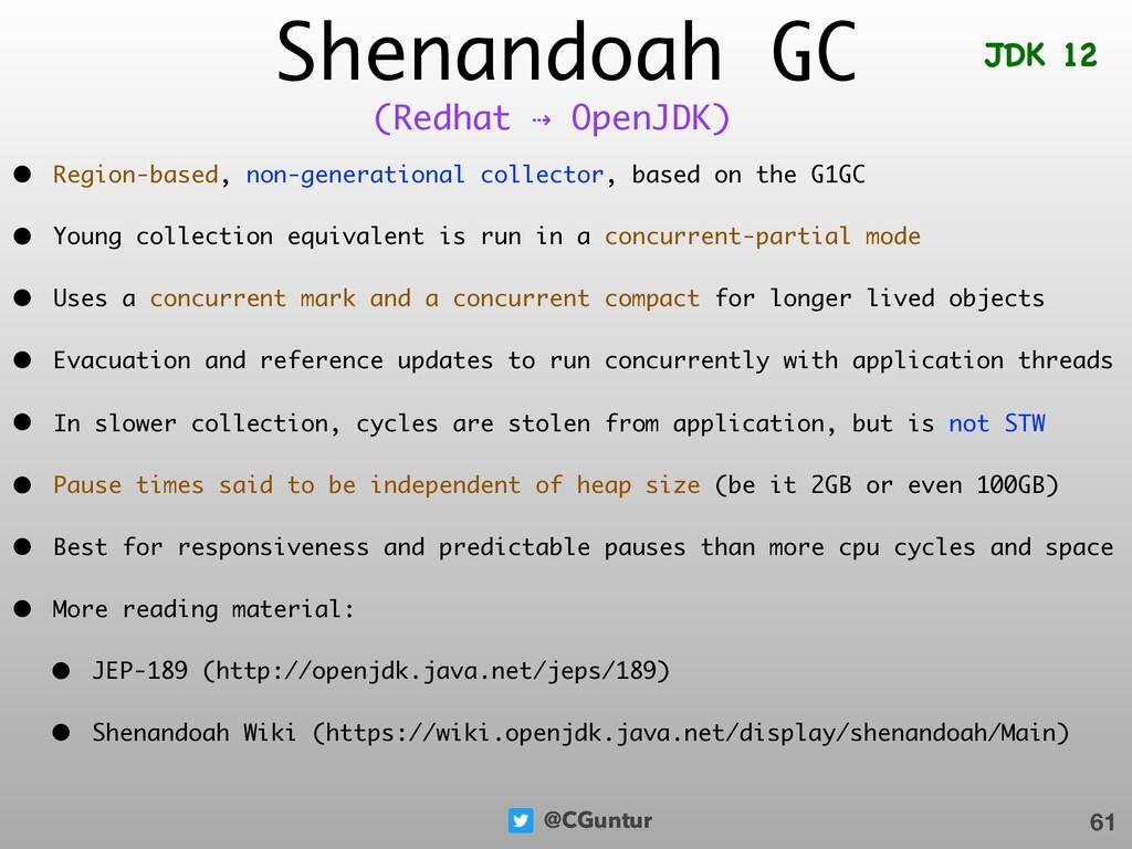 @CGuntur Shenandoah GC • Region-based, non-gene...