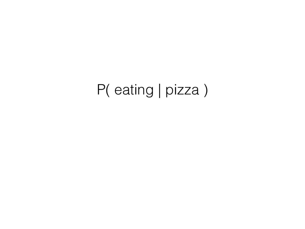 P( eating | pizza )