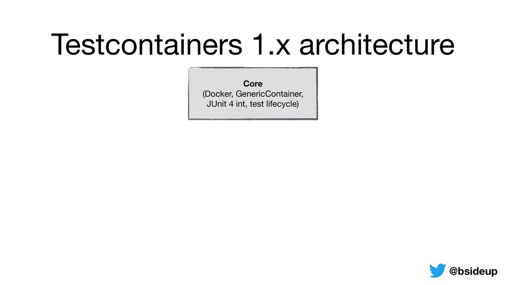 Testcontainers 1.x architecture Core (Docker, ...