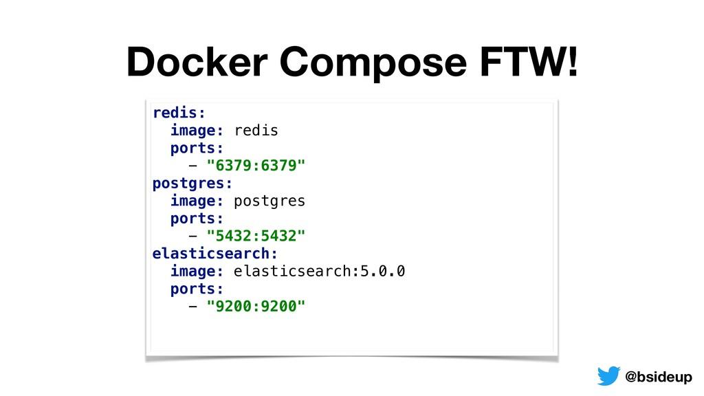 Docker Compose FTW! redis: image: redis ports...