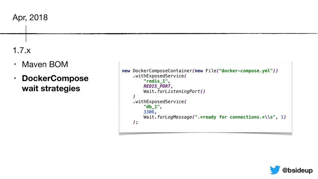1.7.x • Maven BOM  • DockerCompose wait strate...