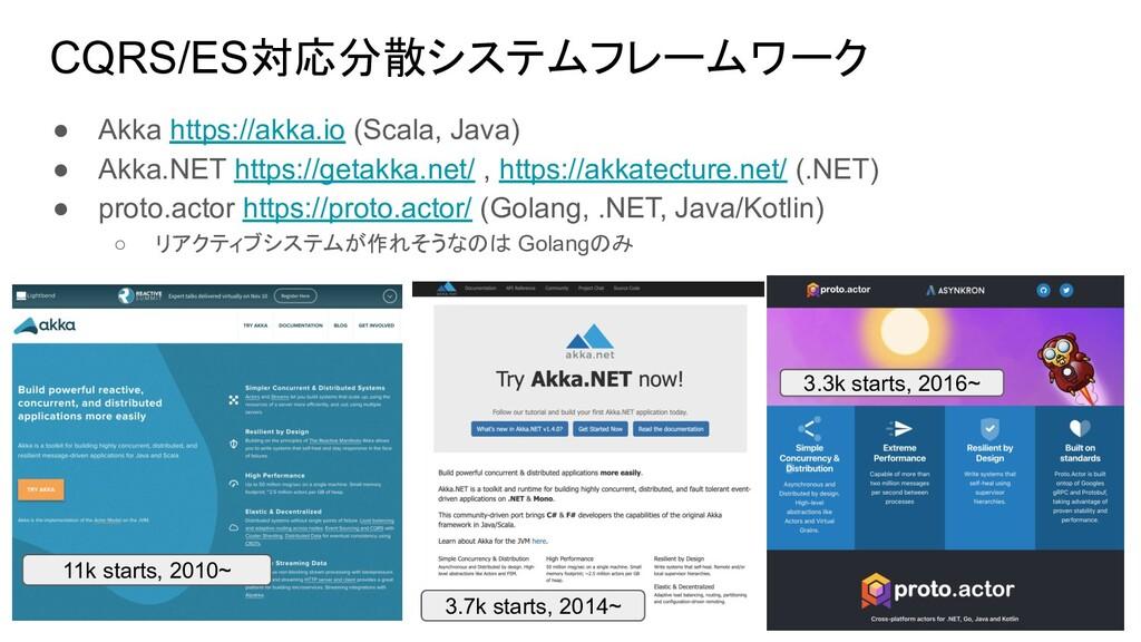 CQRS/ES対応分散システムフレームワーク ● Akka https://akka.io (...
