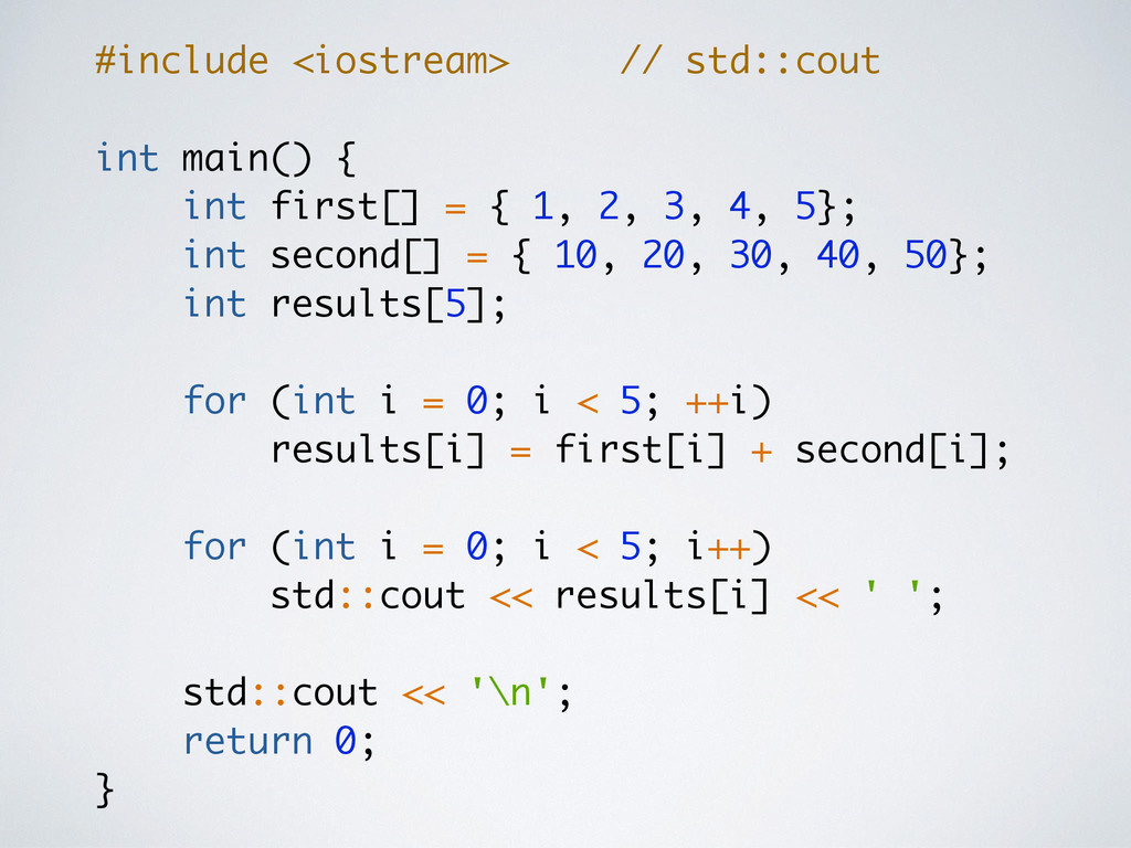 #include <iostream> // std::cout int main() { i...