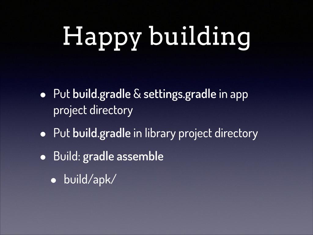 Happy building • Put build.gradle & settings.gr...