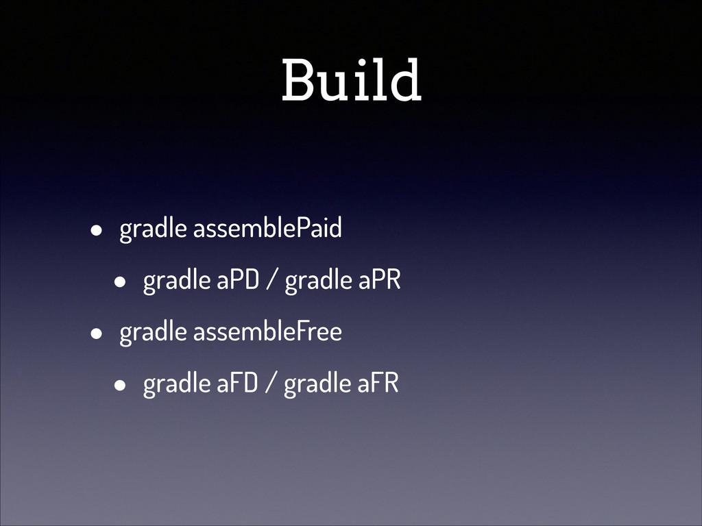 Build • gradle assemblePaid • gradle aPD / grad...