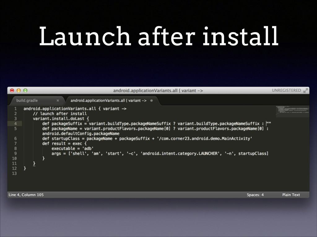 Launch after install